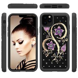 Peacock Flower Studded Rhinestone Bling Diamond Shock Absorbing Hybrid Defender Rugged Phone Case Cover for iPhone 11 Pro Max (6.5 inch)