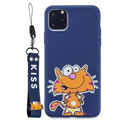 Blue Cute Cat Soft Kiss Candy Hand Strap Silicone Case for iPhone 11 Pro Max (6.5 inch)