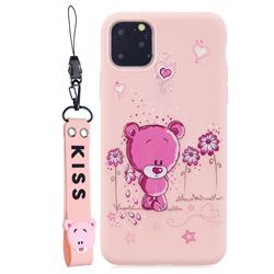 Pink Flower Bear Soft Kiss Candy Hand Strap Silicone Case for iPhone 11 Pro Max (6.5 inch)
