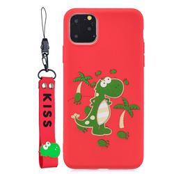 Red Dinosaur Soft Kiss Candy Hand Strap Silicone Case for iPhone 11 Pro Max (6.5 inch)