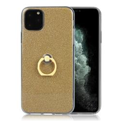 Luxury Soft TPU Glitter Back Ring Cover with 360 Rotate Finger Holder Buckle for iPhone 11 Pro Max (6.5 inch) - Golden