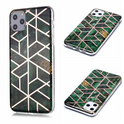 Green Rhombus Galvanized Rose Gold Marble Phone Back Cover for iPhone 11 Pro Max (6.5 inch)