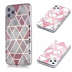 Pink Rhombus Galvanized Rose Gold Marble Phone Back Cover for iPhone 11 Pro Max (6.5 inch)