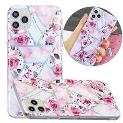 Rose Flower Painted Galvanized Electroplating Soft Phone Case Cover for iPhone 11 Pro Max (6.5 inch)