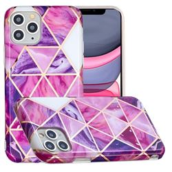 Purple Dream Triangle Painted Marble Electroplating Protective Case for iPhone 11 Pro Max (6.5 inch)
