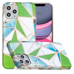 Green Triangle Painted Marble Electroplating Protective Case for iPhone 11 Pro Max (6.5 inch)