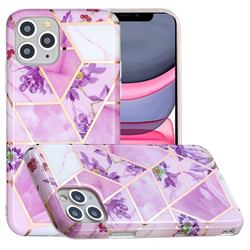 Purple Flower Painted Marble Electroplating Protective Case for iPhone 11 Pro Max (6.5 inch)