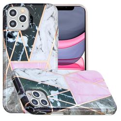Pink and Black Painted Marble Electroplating Protective Case for iPhone 11 Pro Max (6.5 inch)