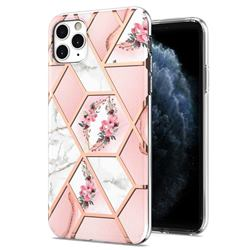 Pink Flower Marble Electroplating Protective Case Cover for iPhone 11 Pro Max (6.5 inch)