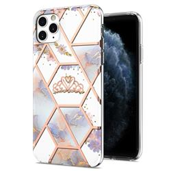 Crown Purple Flower Marble Electroplating Protective Case Cover for iPhone 11 Pro Max (6.5 inch)
