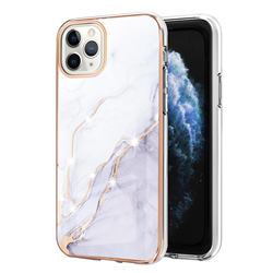 White Dreaming Electroplated Gold Frame 2.0 Thickness Plating Marble IMD Soft Back Cover for iPhone 11 Pro Max (6.5 inch)