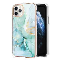 Green Silk Electroplated Gold Frame 2.0 Thickness Plating Marble IMD Soft Back Cover for iPhone 11 Pro Max (6.5 inch)