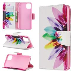 Seven-color Flowers Leather Wallet Case for iPhone 11 Max