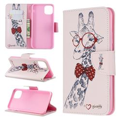 Glasses Giraffe Leather Wallet Case for iPhone 11 Pro Max