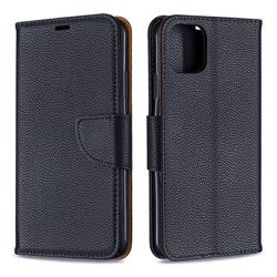 Classic Luxury Litchi Leather Phone Wallet Case for iPhone 11 Pro Max - Black