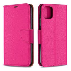 Classic Luxury Litchi Leather Phone Wallet Case for iPhone 11 Pro Max - Rose