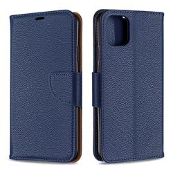 Classic Luxury Litchi Leather Phone Wallet Case for iPhone 11 Pro Max - Blue