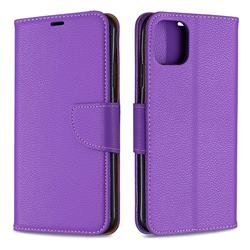 Classic Luxury Litchi Leather Phone Wallet Case for iPhone 11 Pro Max - Purple