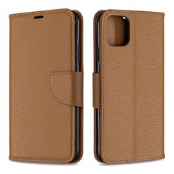 Classic Luxury Litchi Leather Phone Wallet Case for iPhone 11 Pro Max - Brown