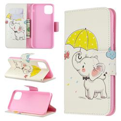 Umbrella Elephant Leather Wallet Case for iPhone 11 Pro Max
