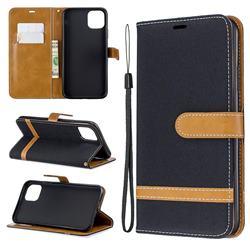 Jeans Cowboy Denim Leather Wallet Case for iPhone 11 Pro Max - Black