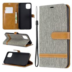 Jeans Cowboy Denim Leather Wallet Case for iPhone 11 Pro Max - Gray
