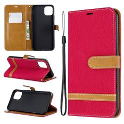 Jeans Cowboy Denim Leather Wallet Case for iPhone 11 Pro Max - Red