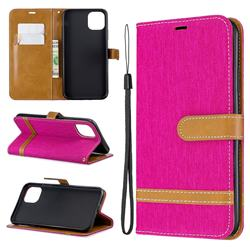 Jeans Cowboy Denim Leather Wallet Case for iPhone 11 Pro Max - Rose
