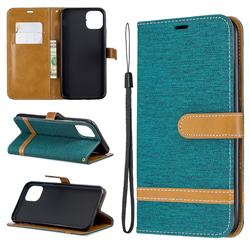 Jeans Cowboy Denim Leather Wallet Case for iPhone 11 Pro Max - Green