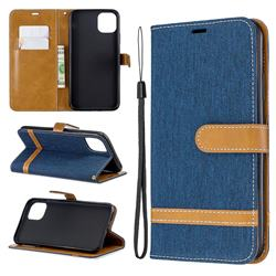 Jeans Cowboy Denim Leather Wallet Case for iPhone 11 Pro Max - Dark Blue