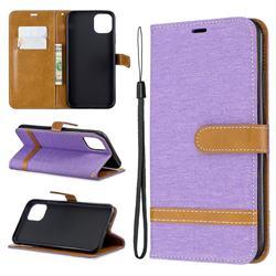Jeans Cowboy Denim Leather Wallet Case for iPhone 11 Pro Max - Purple