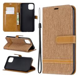 Jeans Cowboy Denim Leather Wallet Case for iPhone 11 Pro Max - Brown