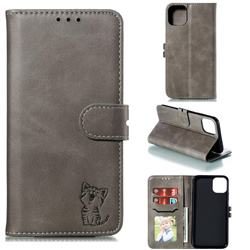 Embossing Happy Cat Leather Wallet Case for iPhone 11 Pro Max (6.5 inch) - Gray