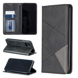 Prismatic Slim Magnetic Sucking Stitching Wallet Flip Cover for iPhone 11 Max (6.5 inch) - Black
