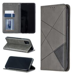 Prismatic Slim Magnetic Sucking Stitching Wallet Flip Cover for iPhone 11 Max (6.5 inch) - Gray