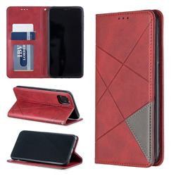 Prismatic Slim Magnetic Sucking Stitching Wallet Flip Cover for iPhone 11 Max (6.5 inch) - Red