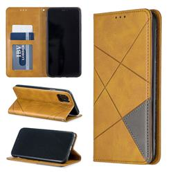 Prismatic Slim Magnetic Sucking Stitching Wallet Flip Cover for iPhone 11 Max (6.5 inch) - Yellow