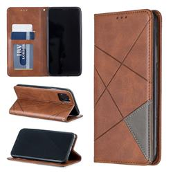 Prismatic Slim Magnetic Sucking Stitching Wallet Flip Cover for iPhone 11 Max (6.5 inch) - Brown