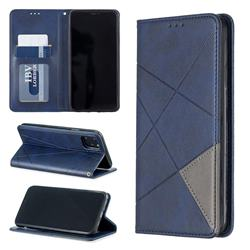 Prismatic Slim Magnetic Sucking Stitching Wallet Flip Cover for iPhone 11 Max (6.5 inch) - Blue