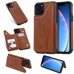 Luxury Tree and Cat Multifunction Magnetic Card Slots Stand Leather Phone Back Cover for iPhone 11 Pro Max (6.5 inch) - Brown