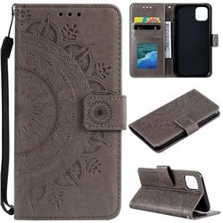 Intricate Embossing Datura Leather Wallet Case for iPhone 11 Pro Max (6.5 inch) - Gray