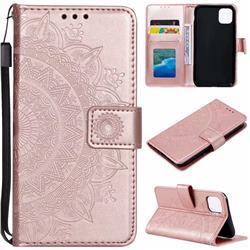 Intricate Embossing Datura Leather Wallet Case for iPhone 11 Pro Max (6.5 inch) - Rose Gold