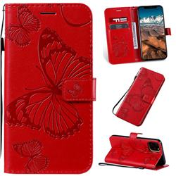 Embossing 3D Butterfly Leather Wallet Case for iPhone 11 Pro Max (6.5 inch) - Red