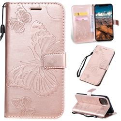 Embossing 3D Butterfly Leather Wallet Case for iPhone 11 Pro Max (6.5 inch) - Rose Gold