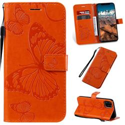 Embossing 3D Butterfly Leather Wallet Case for iPhone 11 Pro Max (6.5 inch) - Orange