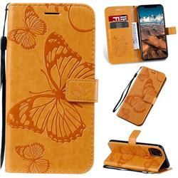 Embossing 3D Butterfly Leather Wallet Case for iPhone 11 Pro Max (6.5 inch) - Yellow