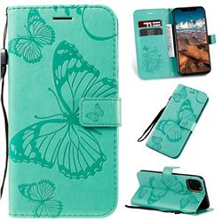 Embossing 3D Butterfly Leather Wallet Case for iPhone 11 Pro Max (6.5 inch) - Green