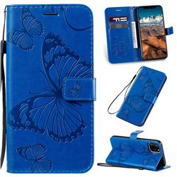 Embossing 3D Butterfly Leather Wallet Case for iPhone 11 Pro Max (6.5 inch) - Blue
