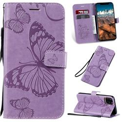 Embossing 3D Butterfly Leather Wallet Case for iPhone 11 Pro Max (6.5 inch) - Purple