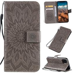 Embossing Sunflower Leather Wallet Case for iPhone 11 Pro Max (6.5 inch) - Gray